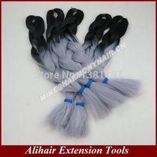 Grátis frete 24inch100grams / pack preto & cinza Ombre dois tons colorido 100% Kanekalon Jumbo cabelo trança(China (Mainland))