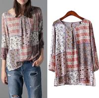 2015 Spring Blusas Ladies' Casual Blouses Floral Totem Pattern Print Vintage Women Shirts O Neck Pullover Retro Slim Brand Tops