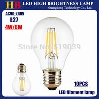 10x High Bright E27 LED lamp LED filament bulb 4-6LED Chips 4W 6W Energy-Saving bulb White OR Warm white AC 110V 220V lighting