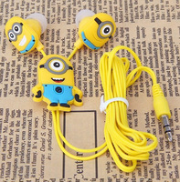 2015 Fashion Anime Earphone despicable Me 3.5mm in ear MP3  Headphones For Phone Mobile Phone MP3 player Computer kids gift