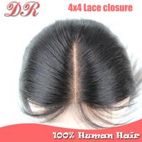 Cheap 6A Grade Virgin Brazilian Closure 4X4 Swiss Lace Brazilian Virgin Hair Closure Silk Straight Middle/Free Part Lace Closure