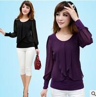 2015 Slim Wavy petals Large Chiffon Shirt Purple/Black M-4XL O Neck Long Sleeve Loose A0346