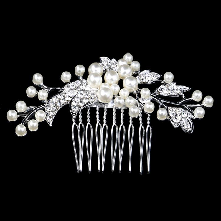 New Austria Crystal Bridal Wedding Tiara Handmade Flower Cream Imitate Pearl Hair Combs Silver Plated Jewelry(China (Mainland))