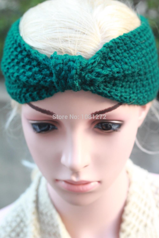 (20pieces/lot) Wholesale Womens ,Earwarmer,headband pattern,Green Kont Knit Headband Fall and winter hair accessory(China (Mainland))