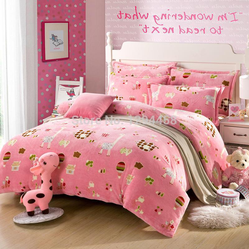 100% Flannel Thick warm bedding sets 4pcs cartoon princess kitty bed linen Soft and breathable Environmental printing bed sheets(China (Mainland))