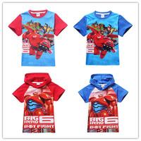 2015 Big Hero 6 Shirts Clothes Red Blue Color shirt Kids Cartoon Casual Wholesale 5pcs/lot Children Clothing Free Shipping DA570