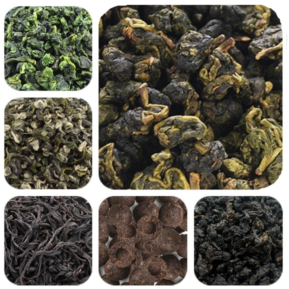 12 Bags 6 Kinds Different Flavors Tea Chinese Black/Green/Milk Oolong Tea,Puer,Tieguanyin,Biluochun Black Oolong + Secret Gift(China (Mainland))
