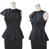 2015 Fashion Europe Style Women Vintage Ruffles Patchwork Dress Patchwork Bodycon Pencil sheath Dress Plus Size S-XXL d40684