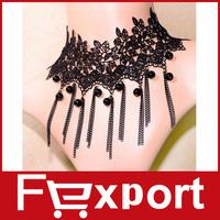 2015 New Pendant Bead Necklaces False Collar Black Vintage Lace Necklace 497
