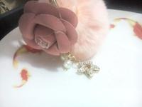 fashion women  pink flower harmony key ring  sweet pearl keyring  tassel high quality KEYCHAIN free shipping  fur ball hanging