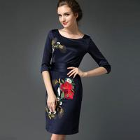 Women Dress Vestidos 2015 Spring Elegant Party Dress O-neck Three Quarter Embroidery Slim Split Hem Cheongsam OL Sexy Dress