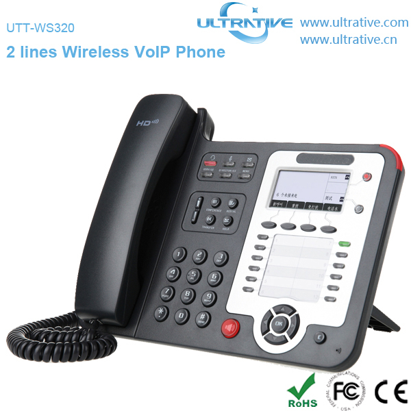 2 Lines WiFi VoIP Phone, Wireless IP Phone with 2 SIP accounts, Enterprise HD Wireless SIP Phone with 12 programmable keys(China (Mainland))