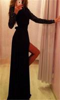 2015 Trendy Women Sexy Dresses Sequins Sleeve Bodycon Slim Vestidos Evening Party Floor-Length Dress bz853713