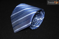 100% handmade blue and silver striped men's business Tie line thickness formal wedding party jewelry neck tie Free Shipping