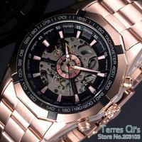 New Luxury Watch Men Skeleton Auto Mechanical Watches Wristwatch Free Ship