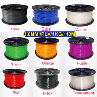 Free shipping 2015 NEW 15 dfferent Colors 3D Printer Filament PLA 3.0 mm 1KG/2.2lb Plastic Rubber Consumables Material