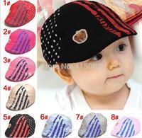 Hot Spring Children's cotton embroidered flowers pentagram Cubs cap (8 colors optional)