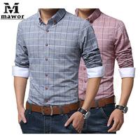 Plus Size Shirts New 2015 Spring Casual Men Shirt Cotton Linen Mens Dress Shirt Slim Fit Plaid Shirt Long sleeve Camisas MC127