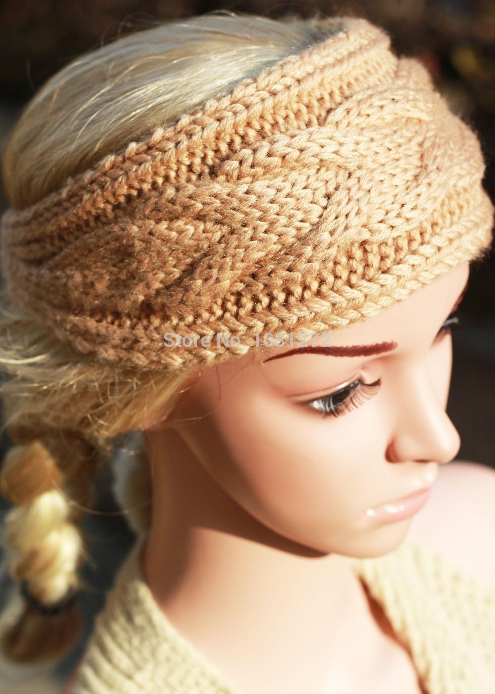 khaki Knit Headband,Cute Turban Headband,Earwarmer,Hair Accessories,Head wrap,headband pattern,Fall and winter hair accessory(China (Mainland))
