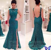 2015 New Arrivals Lace Crochet Emeralds Party Dress Vestido De Festa Longo Sexy Backless Side Split Floor Length Dress