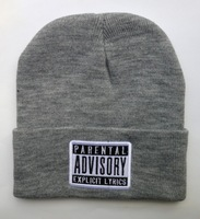 free shipping Cotton parental advisory explicit content Beanie hats most popular men caps top quality cheap winter knitted