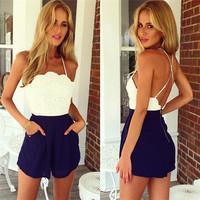 Sexy Women Mini Dresses Sleeveless Strapless vestido de renda Ladies Hollow Party Dress roupas femininas ay853710