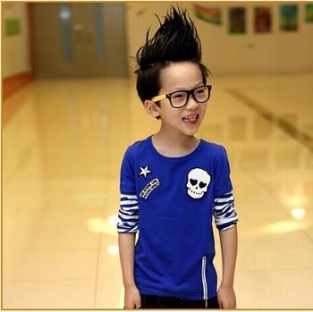 Бесплатная доставка осенью 2014 новых детей футболки для мальчиков мода футболки, с длинным рукавом череп футболки A042