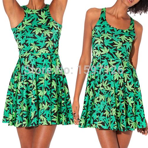 Lowest price2015 Women Woah Dude Skater Dress Fashion Summer Dress GREEN LEAF Clothing Pleated Dress(China (Mainland))