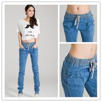 2015 New Women Harem Pants Loose Cotton Jeans Slim Elastic Waist Drawstring Fit for Dance Sports Ladies Trousers EJ853653