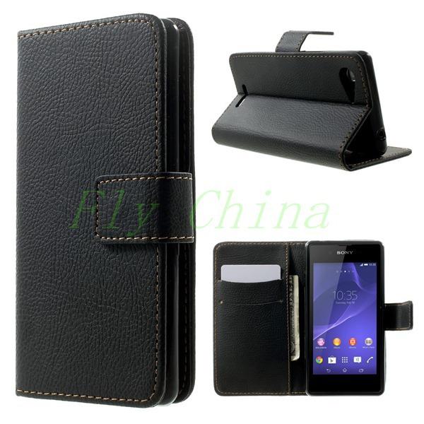 2015 НОВЫЙ Личи PU Кожаный Чехол Wallet Откидная Крышка для Sony Xperia E3 D2203 D2206/E3 Dual SIM чехол для для мобильных телефонов for sony xperia e3 sony xperia e3 sony xperia e3 d2203 d2206