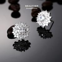 Platinum Filled 5A+ Cubic Zircon Sunflower Stud Earrings Women Bride Piercing Earrings High Quality Wholesale Beautyer BEH48
