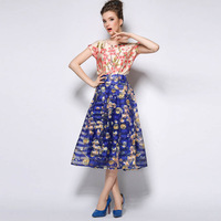 Free shipping 2015 Retro Hepburn Blue Floral Prints Skirt Organza Pleated Below-Knee Ball Gown Midi Swing Skirt