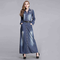 Spring autumn winter woman vintage BF style rivet denim maxi coat ankle length trench coat  plus size FF619