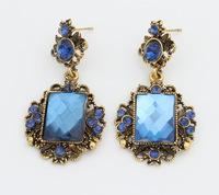 Retro Blue Rhinestone Drop Earrings Faux Stone Dangle Earrings New Vintage Fashion Jewelry  BJE6272