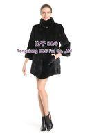 BG70813 Women's Genuine Mink Fur Coat  Stand Collar Horizontal Stripes Lower Hem Long Style Ladies' Winter Warm Fashion Choice