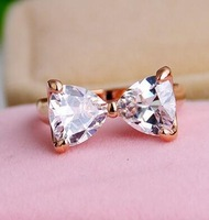 18K RGP Good quality Fashion gold plated zircon crystal ring wholesale B6.5D25211