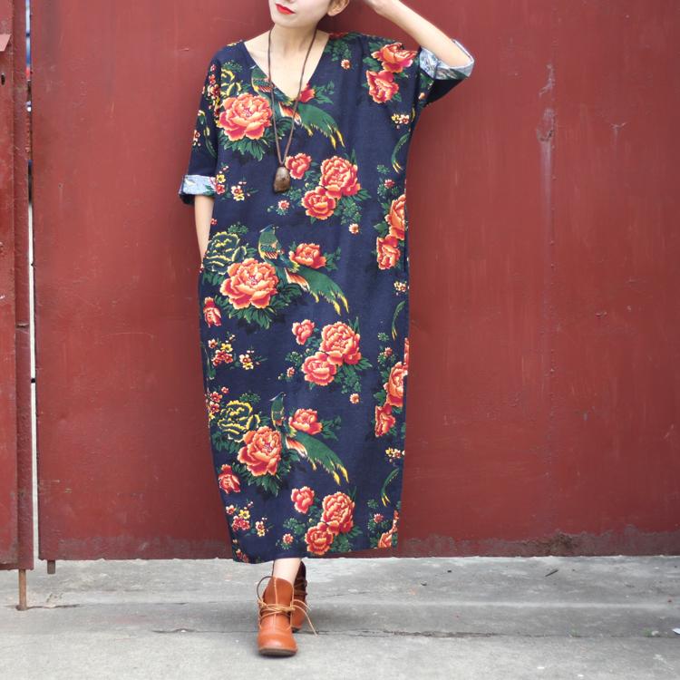 Women Dress 2015 Spring Linen Casual Dress V-neck Vintage Print Long-sleeve Loose-waist Hem Split Long Maxi Vintage Dress 0144(China (Mainland))