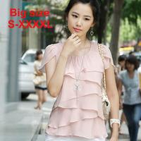 2015 summer plus size top ruffle all-match basic shirt slim chiffon short-sleeve shirt female women blouses plus size