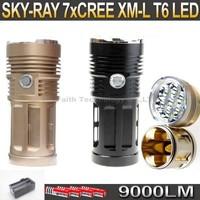 SKY RAY 9000 Lumens 7T6 7 x CREE XM-L XML T6 LED Flashlight Lamp Torch 18650 Flash Light + 4*18650 Battery+Charger
