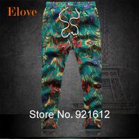 2015 Spring Men's Fashion pants Flower print slim casual Pattern pants men Linen Trousers Joggers Nine minutes Pants Size M-6XL