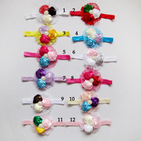 New Fashion Baby Hair Accessories Girls Headwear Flower Stretch Hairband Boutique Baby Headband Infant Photography Props FS239