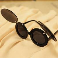 Free shipping 2015 Unisex Fashion Flip retro glasses White/black/yellow/red Plain glasses Novel sexy sunglasses AY676149