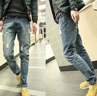 Men hole jeans tide male Korean Slim pants feet trousers straight male beggars hole jeans men calca jeans masculina 5 style