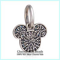 2015 New 925 Sterling Silver Pave CZ Sparkling Mickey Icon Dangle Charms Fits Famous Brand Bracelets Mickey Charm Pendants Er469