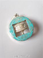 TBP816 Tibetan White Metal Copper Inlaid Turquoise Prayer Wheel Amulet Round Pendants Wholesale Tibet  jewelry 2015 New