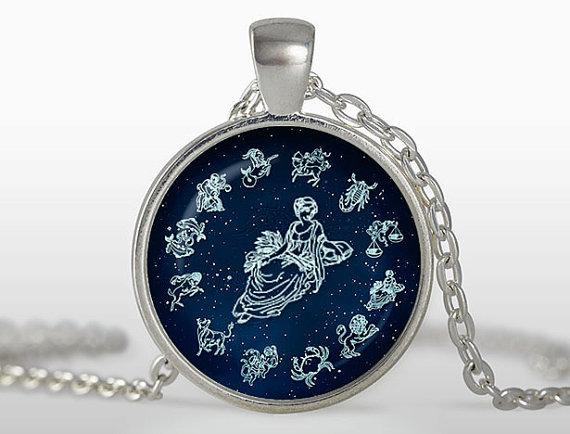 (3 pieces/lot) Handicraft bijuterias Virgo pendant Vintage Zodiac Necklace Virgin maiden Jewelry August September birthday Gift(China (Mainland))