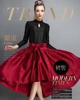 Autumn Winter Fashion Womens Vintage Retro Hepburn Bow Tie  Asymmetrical High Waist A-Line Knee-Length Midi Skirts Ball Gown