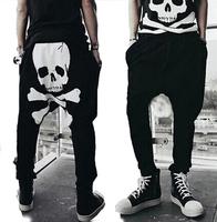 new printing across  punk harem pants men casual  trousers skull  pants men tide spring autumn outdoors