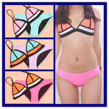 2015 New Fashion Mesh Swimsuit Sexy Neoprene Bikini Set Triangle Swimwear Women Neoprene Biquinis women(China (Mainland))