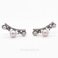 Pearl Earrings for Women Elegant Lady Women Crystal Rhinestone Stud Earrings Gold / Silver Plated Earring brincos Y55*SS0010#S7